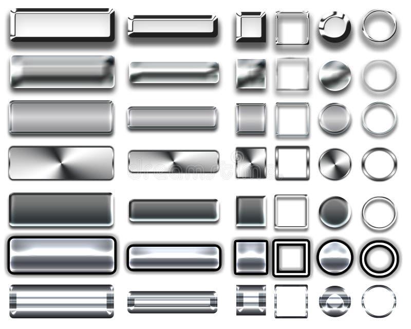 Różni kolory srebni guziki i ikony dla sieć projekta ilustracja wektor