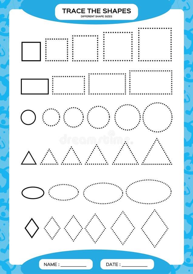 Różni kształtów rozmiary uczenie podstawowy kształty Ślad i remis, Worksheet dla preschool dzieciaków Ćwiczy motorowe umiejętnośc ilustracja wektor
