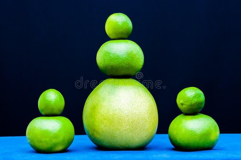 Różni kształtów sety od zielonych cytrus owoc Wapno, pomelo, grapefruits zdjęcia stock