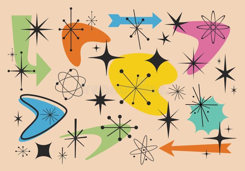 Różni kształty lata pięćdziesiąte ilustracja wektor