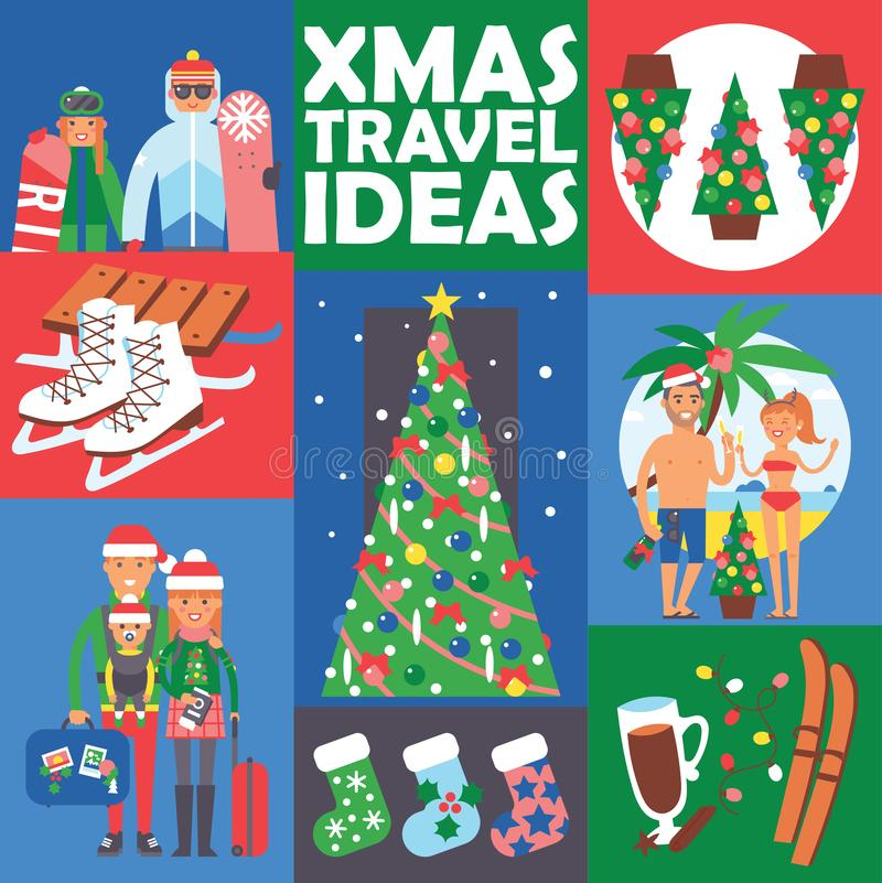 Różni ludzie rodziny i przyjaciół zimy wakacje Bożenarodzeniowi wakacje Szczęśliwa rodzinna podróż i świętować Xmas ilustracji