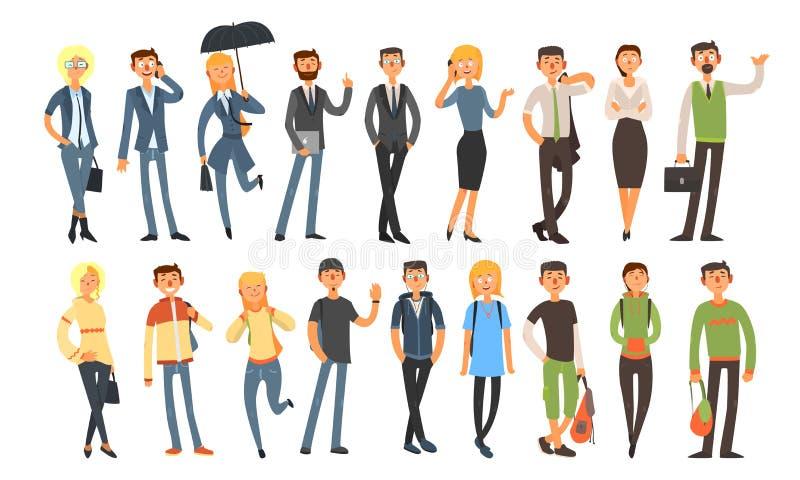 Różni ludzie Ustawiający, Rozochoceni mężczyźni i kobiety Jest ubranym, Przypadkowych ubrania i garnituru wektoru ilustrację royalty ilustracja