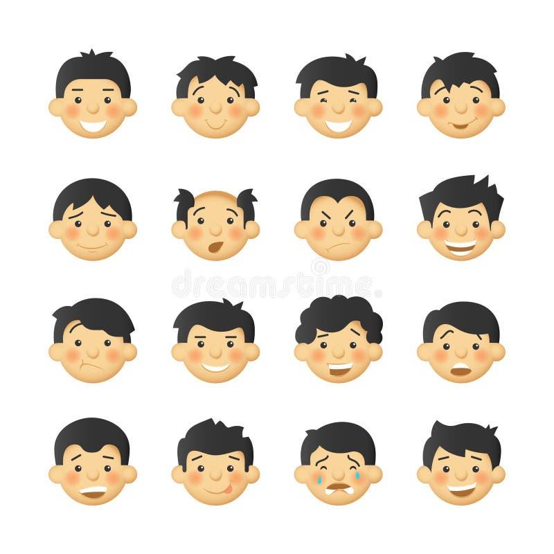 Różni mężczyzna z różowymi policzkami Wektorowi avatars i emoticons ustawiający royalty ilustracja