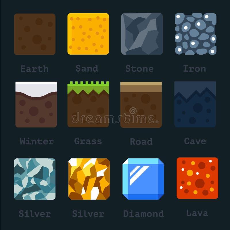 Różni materiały i tekstury dla gry ilustracji
