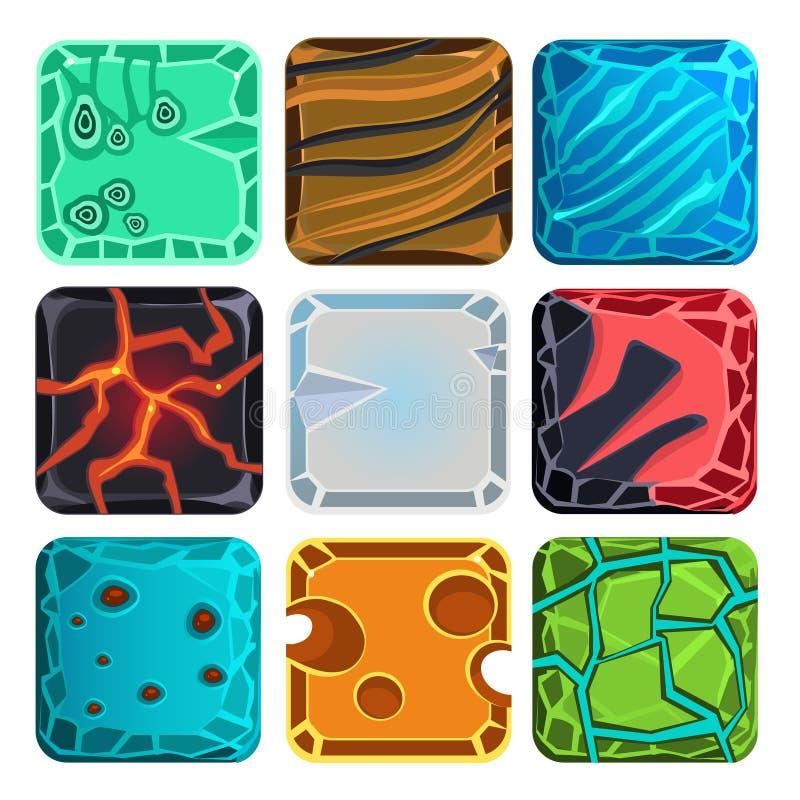 Różni materiały i tekstury dla gry ilustracja wektor