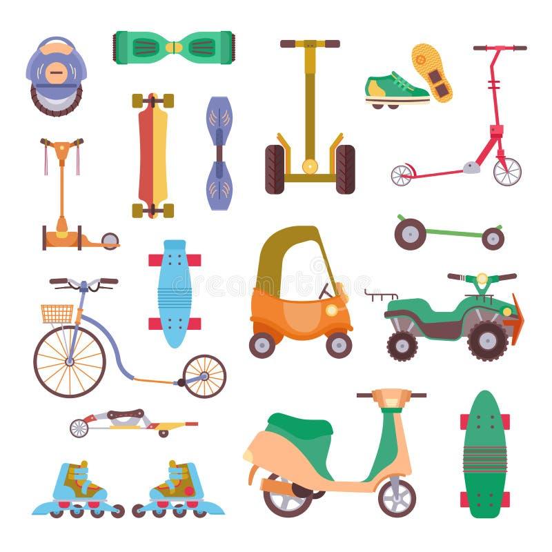 Różni miastowi parkowi aktywność sporta koła przyrząda, pojazdy i park ilustraci przewieziony wektorowy set, Dziecko manuału samo ilustracji
