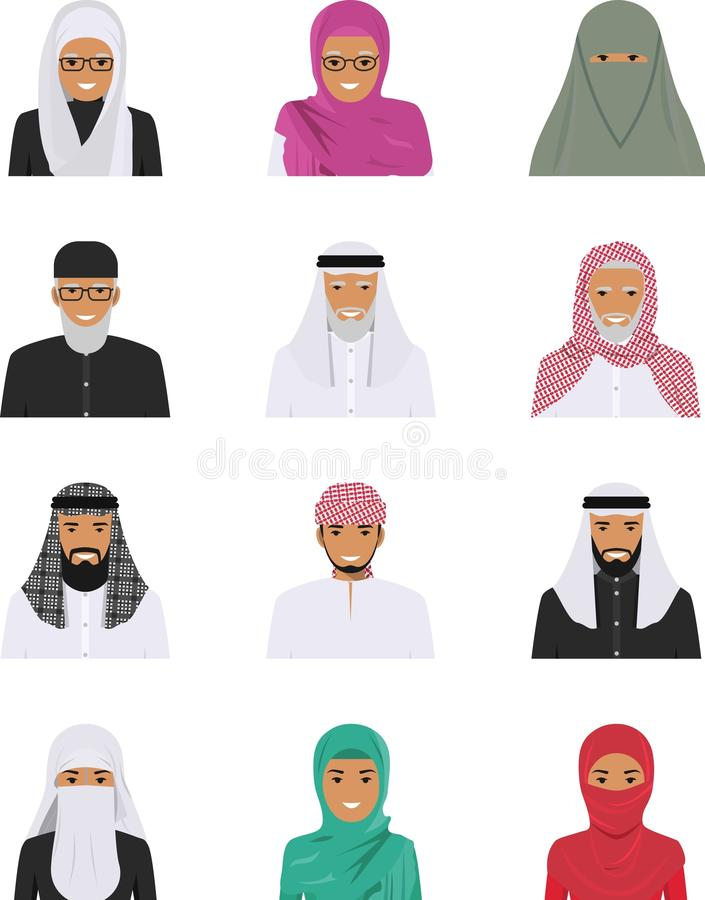 Różni muzułmańscy arabscy ludzie charakterów avatars ikon ustawiać w mieszkanie stylu odizolowywającym na białym tle royalty ilustracja
