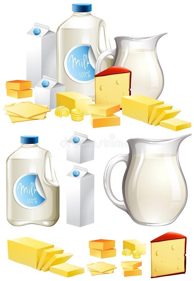 Różni nabiały z mlekiem i serem ilustracji
