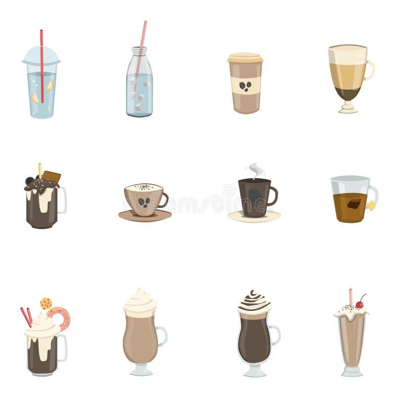 Różni napoje ustawiający ilustracji