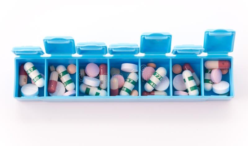 Różni pastylek pigułek kapsuły rozsypiska mieszanki terapii leki fabrykują grypę obraz stock