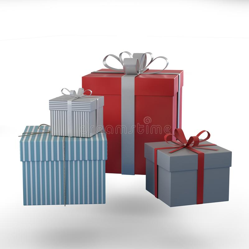 Różni prezentów pudełka z łękiem dla prezentów na bożych narodzeniach, walentynkach i urodziny, obraz royalty free