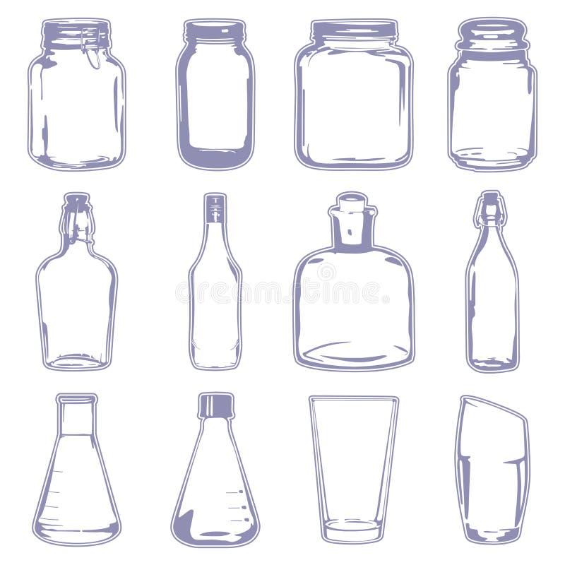 Różni puści zbiorniki ilustracja wektor