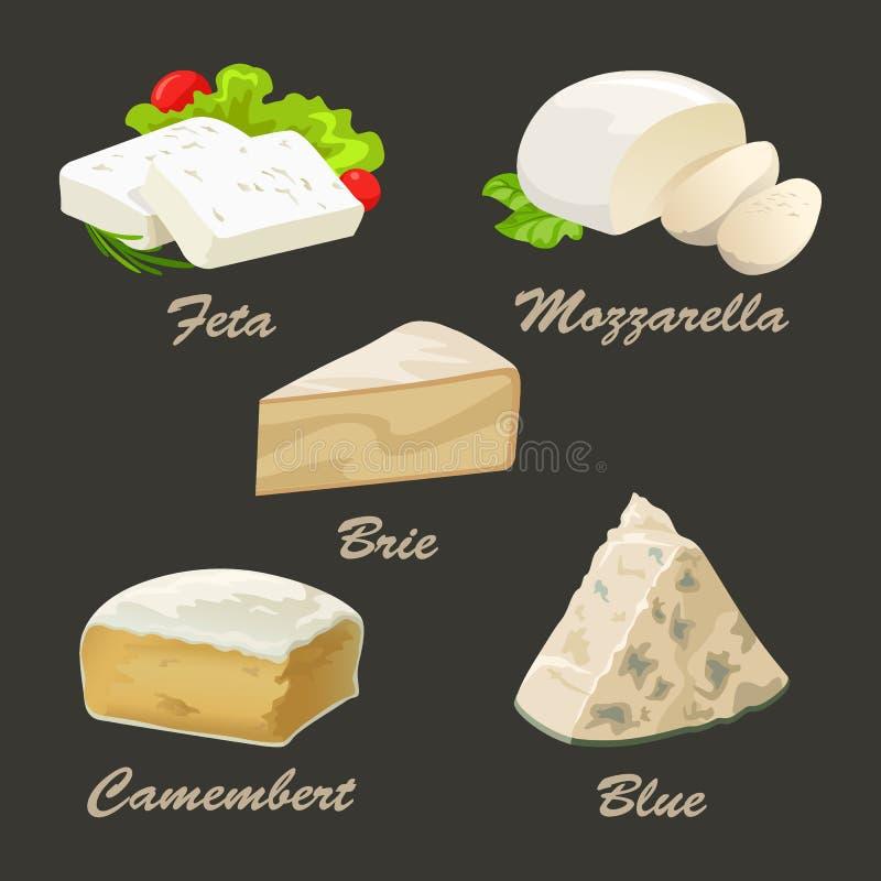 Różni rodzaje biały ser Realistyczna wektorowa ilustracja royalty ilustracja