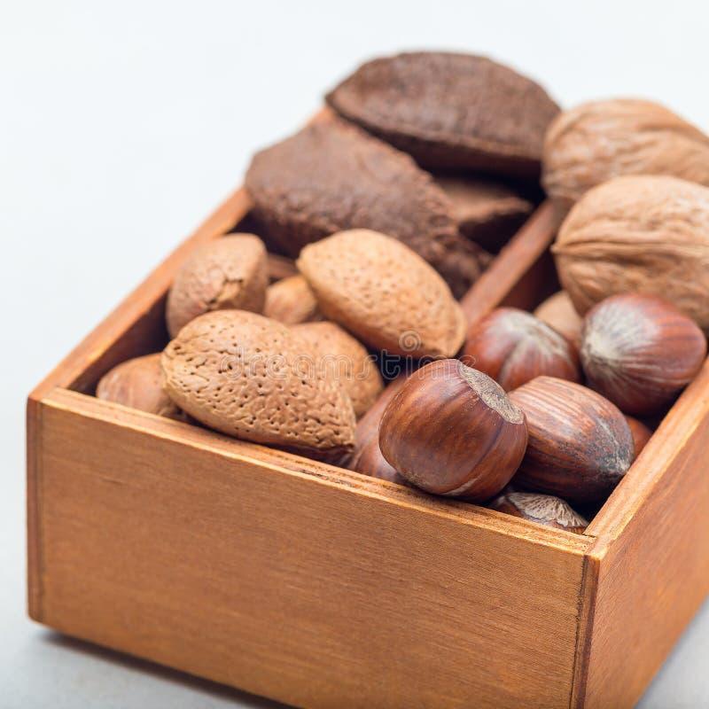 Różni rodzaje dokrętki w skorupie, hazelnut, orzechu włoskim, migdale i Brazil dokrętkach w drewnianym pudełku, kwadratowy format zdjęcie royalty free