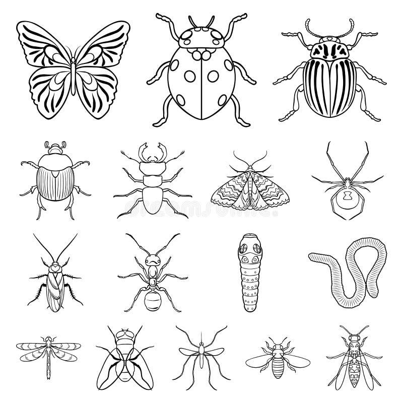 Różni rodzaje insekty zarysowywają ikony w ustalonej kolekci dla projekta Insekta członkonoga symbolu zapasu wektorowa sieć royalty ilustracja