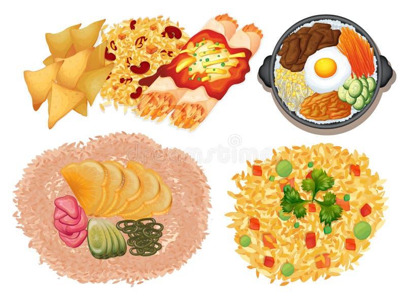 Różni rodzaje jedzenie na białym tle ilustracji