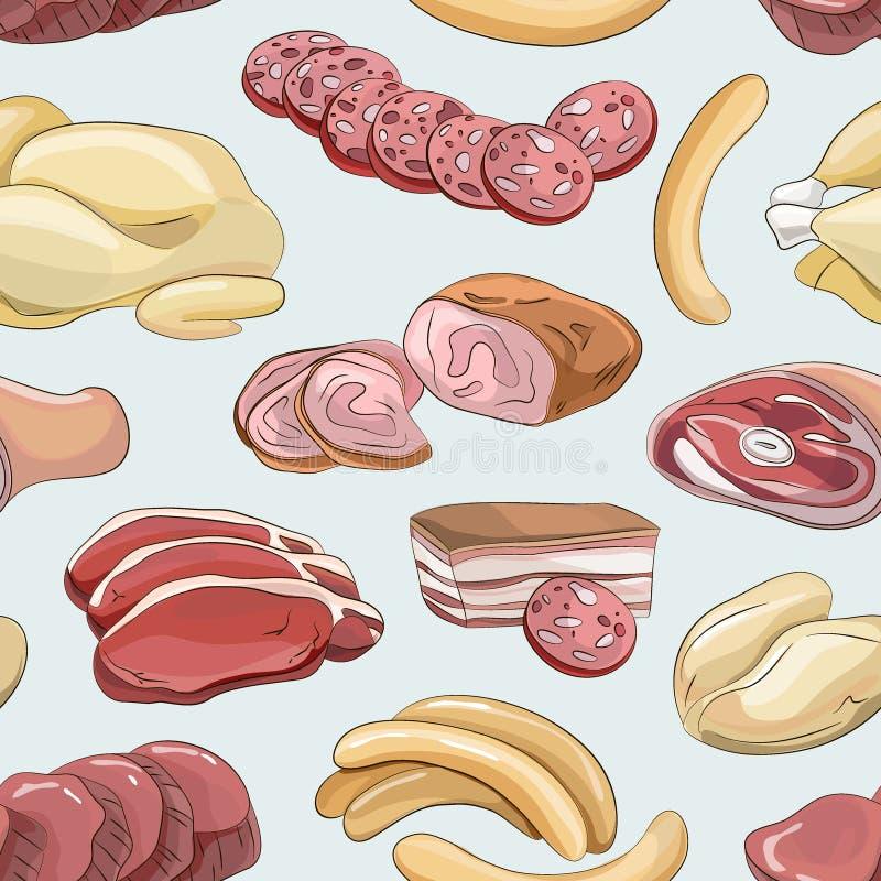 Różni rodzaje mięsny kolekcja wzór ilustracji