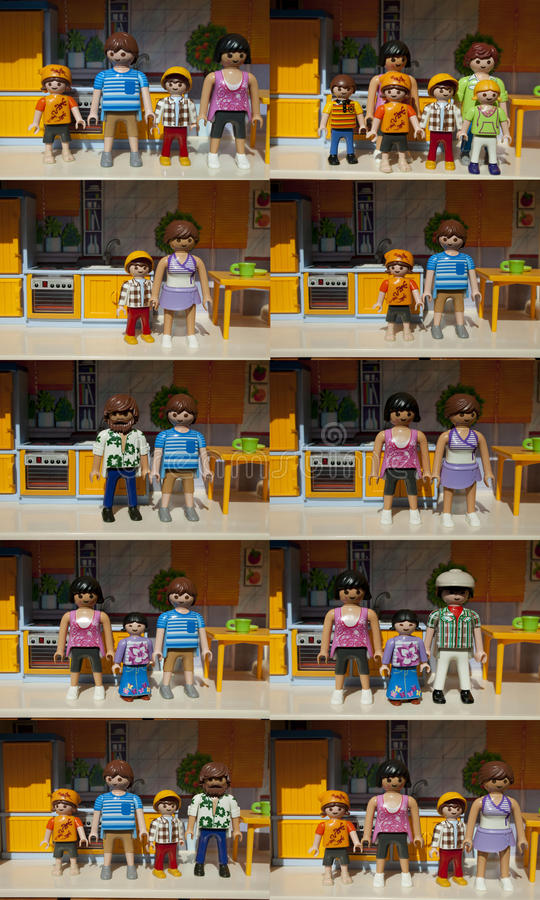 Różni rodzaje rodziny Playmobil obraz stock