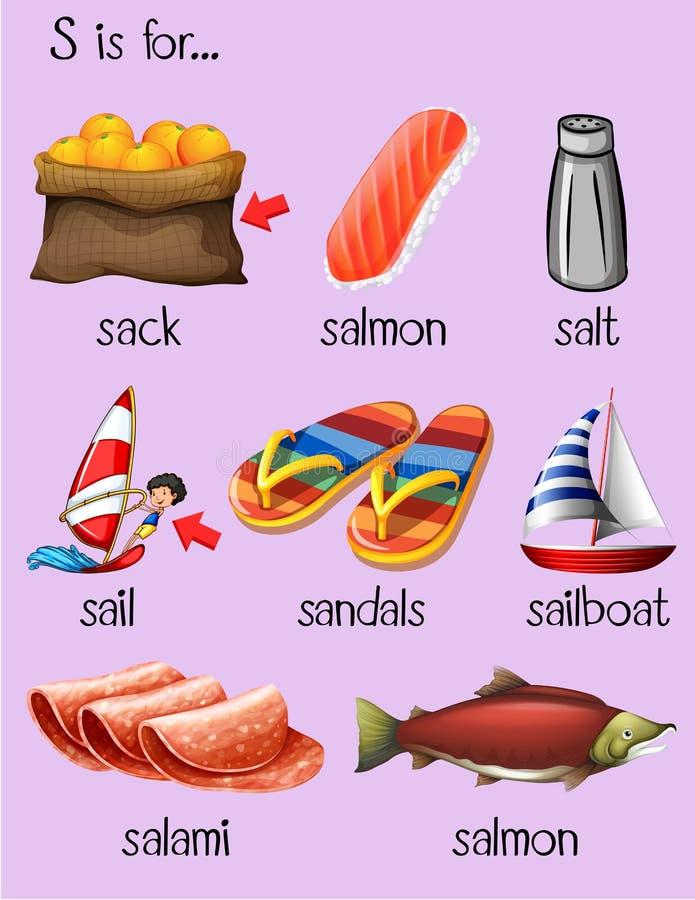 Różni słowa dla listowego S ilustracji