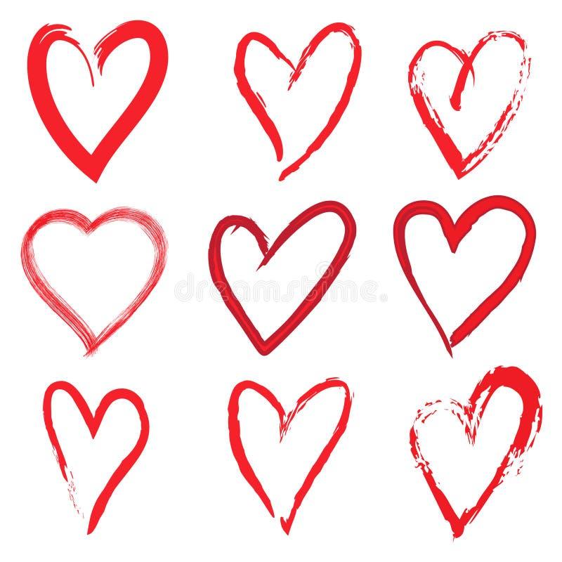 Różni serca, Jeden miłość Grunge wektoru ikona ilustracja wektor