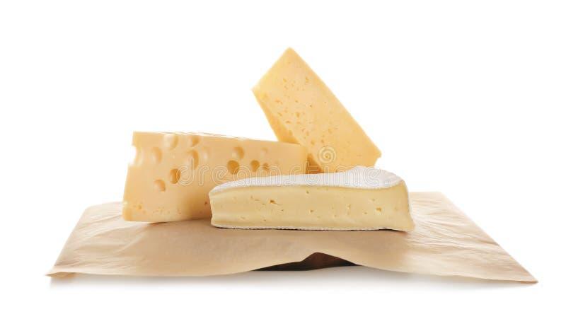 Różni sery na białym tle fotografia stock