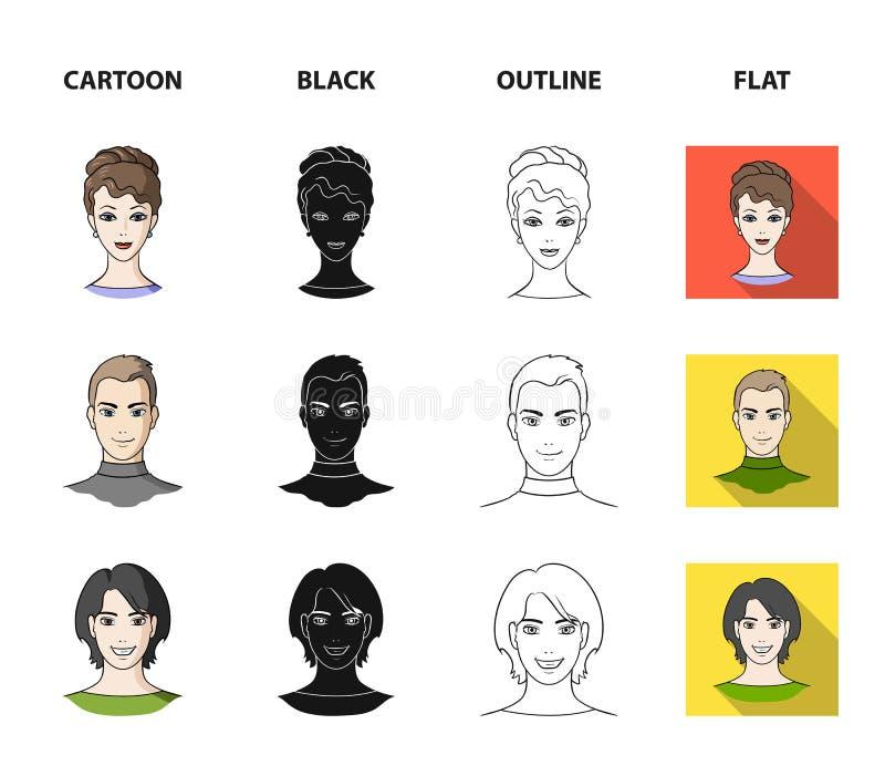 Różni spojrzenia młodzi ludzie Avatar i twarzy ustalone inkasowe ikony w kreskówce, czerń, kontur, mieszkanie stylowy wektorowy s royalty ilustracja