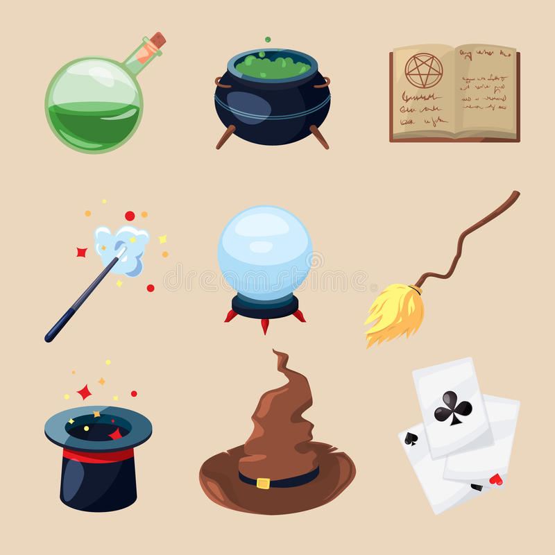 Różni symbole czarownicy i magicy Tajemnicy książka, magiczny pergamin i różdżka, Wektorowe ikony ustawiać w kreskówka stylu royalty ilustracja