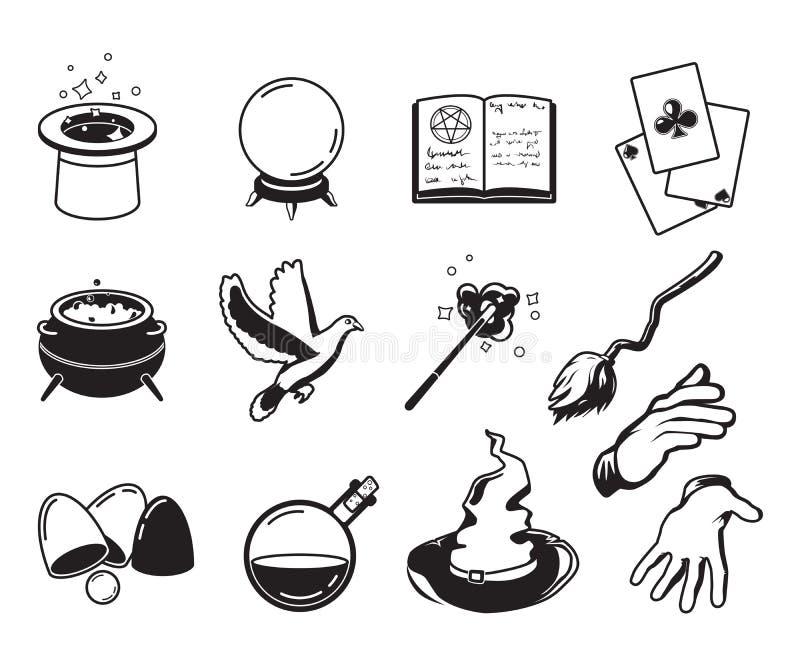 Różni symbole magicy, alchemicy i czarownicy, Wektorowe monochromatyczne sylwetki odizolowywają na bielu ilustracja wektor