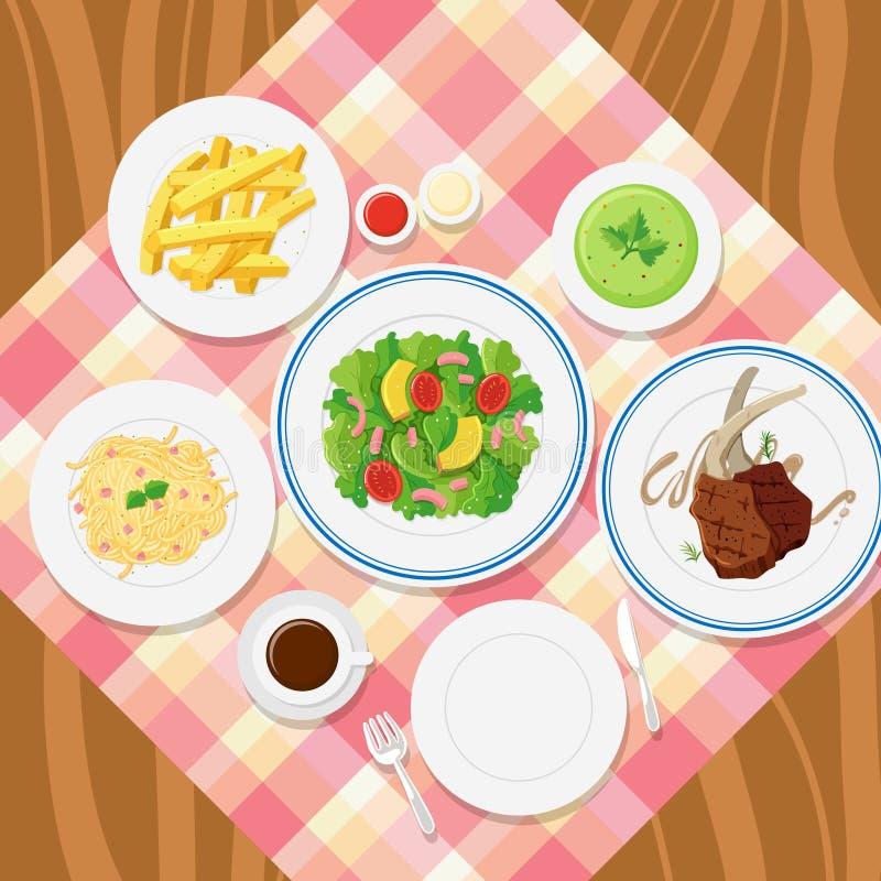 Różni talerze jedzenie na stole ilustracji