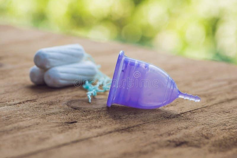 Różni typ kobiecy higiena produkty - menstrual tampony i filiżanka obraz royalty free