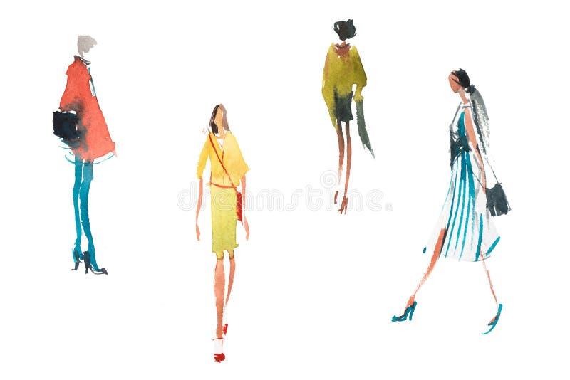 Różni typ kobieta wierzchołek wykazywać tendencję w mody akwareli nakreślenia ilustracyjnym Szybkim rysunku ilustracja wektor