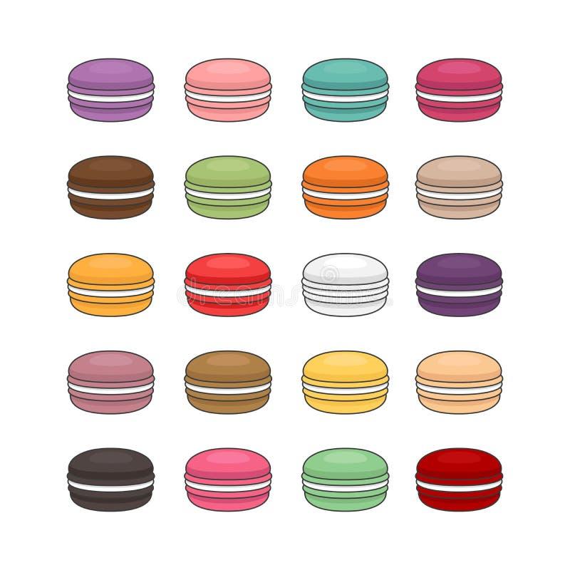 Różni typ macaroons Set różny smaku torta macaro ilustracja wektor