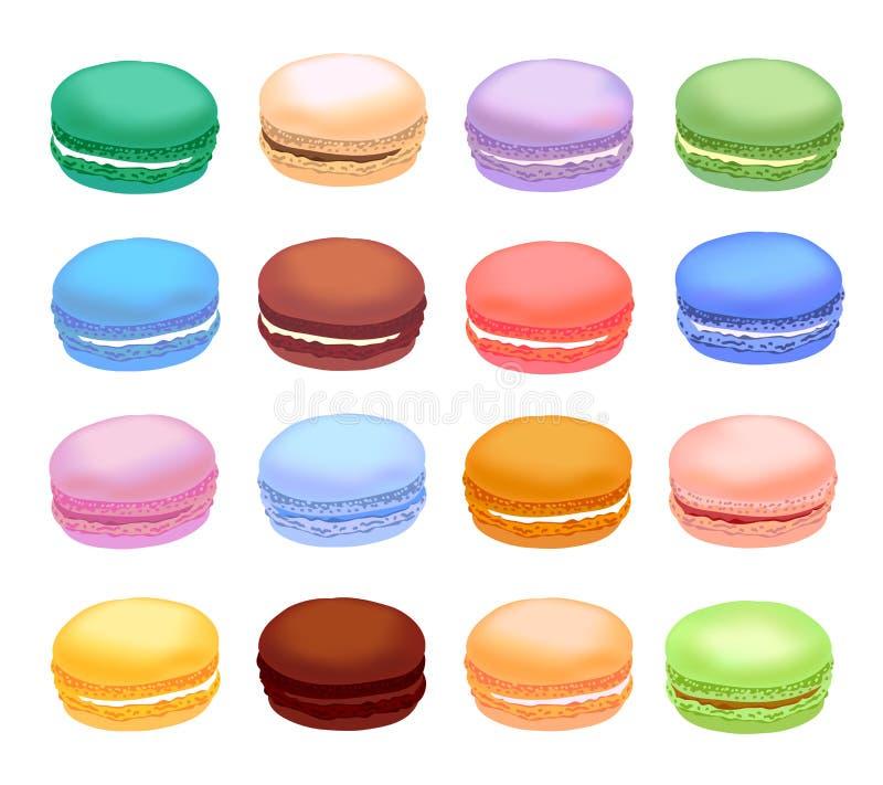 Różni typ macaroons Set różni smaku torta macarons Realistyczny styl ilustracja wektor