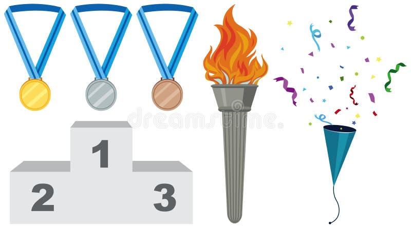 Różni typ medale i pochodnia royalty ilustracja