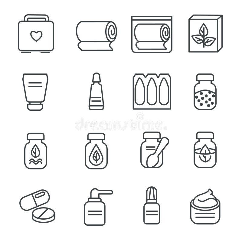 Różni typ medycyny i medyczni narzędzia jako kreskowe ikony royalty ilustracja