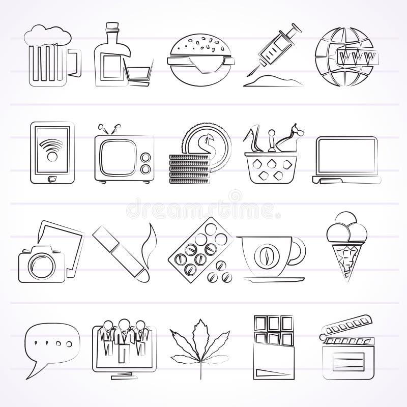 Różni typ nałóg ikony royalty ilustracja