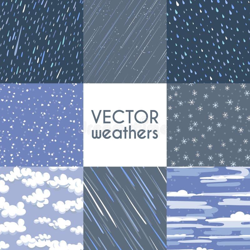 Różni typ opady deszczu Jesień dżdżysta, śnieg i inna bezszwowa deseniowa kolekcja, royalty ilustracja