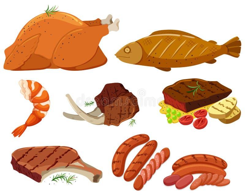 Różni typ piec na grillu mięso royalty ilustracja