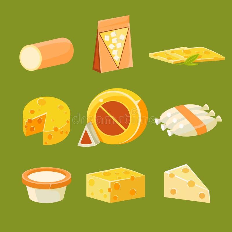 Różni typ ser, Płaski wektor royalty ilustracja