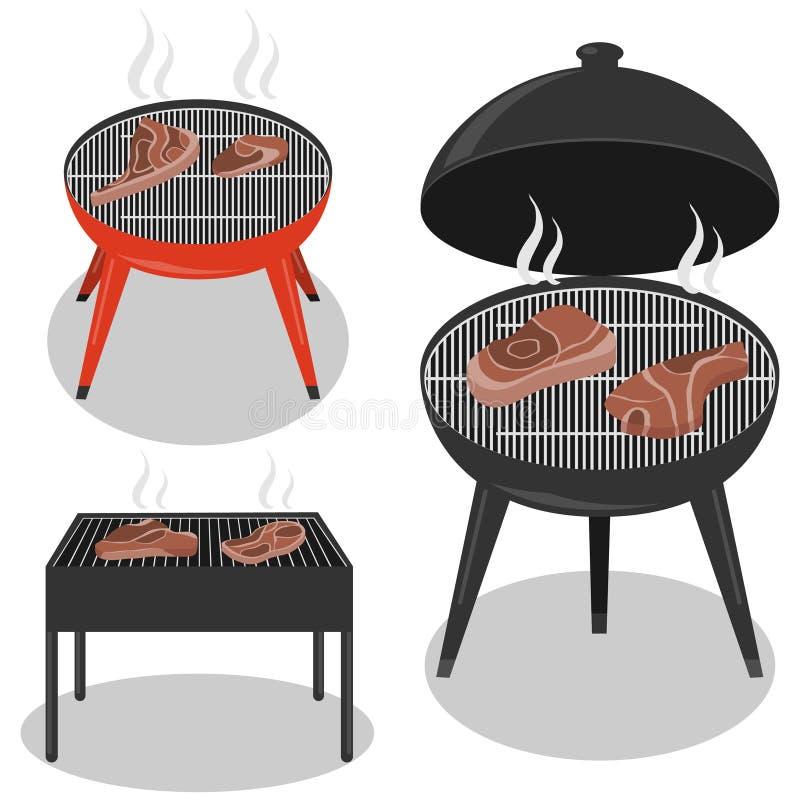 Różni typy grillów grille tła grilla odosobniony biel BBQ przyjęcie, tradycyjny ilustracji