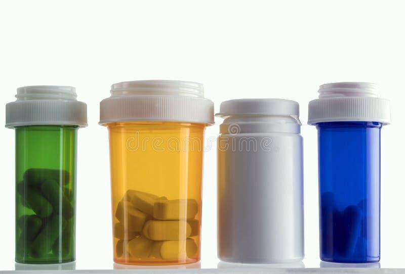 Różni typy kosmetyczni zbiorniki i odosobnione medycyny fotografia stock
