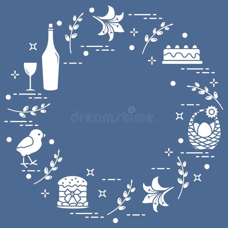 Różni Wielkanocni symbole układający w okręgu: simnel tort, kurczątko, leluja, kosze, jajka i inny, ilustracja wektor