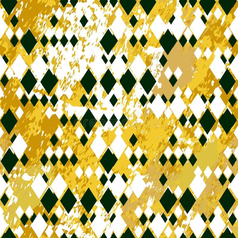 Różni wielkościowi czarny i biały rhombuses na oche i bielu marmurze textured tło ilustracji