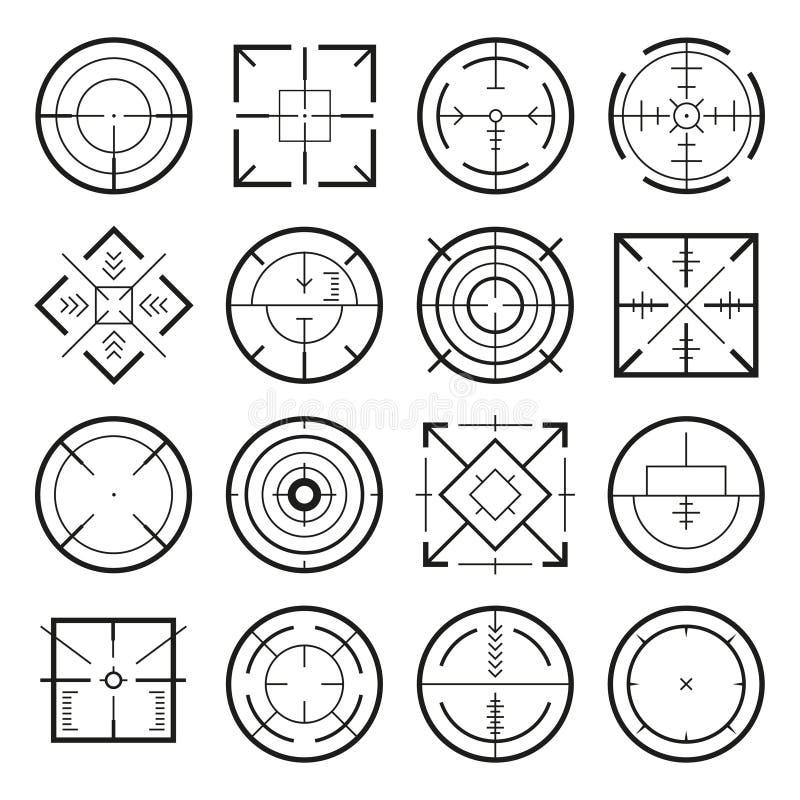 Różni wojskowych cele dla strategii gier Wektorowi monochromów obrazki ilustracji
