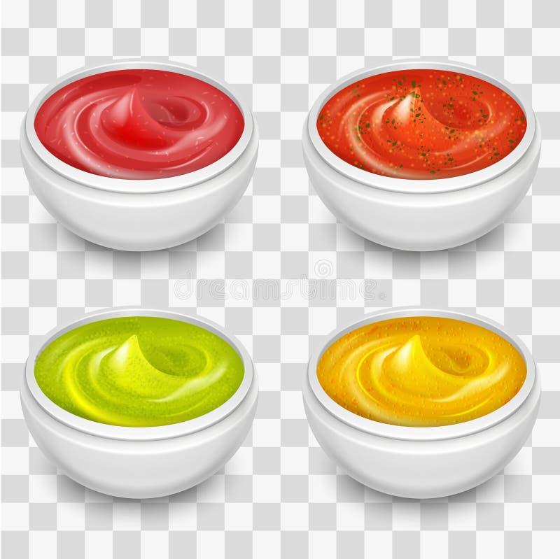 Różni wyśmienici kumberlandy, musztarda, ketchup, soja, marynata na przejrzystym tle ilustracji