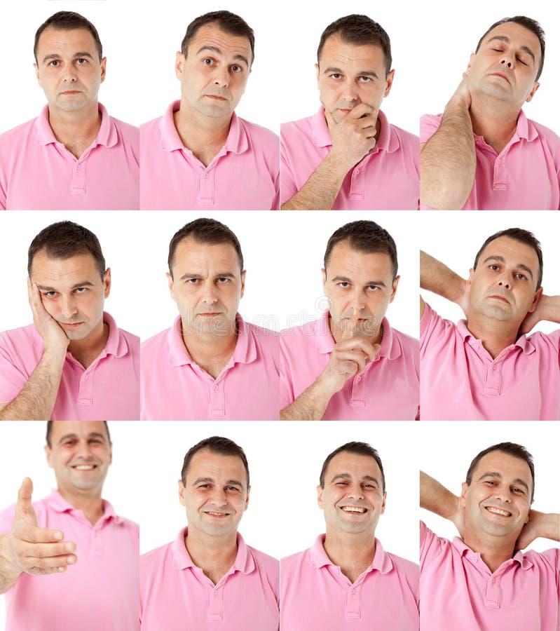 różni wyrażenia stawiają czoło męskiego portret zdjęcia stock