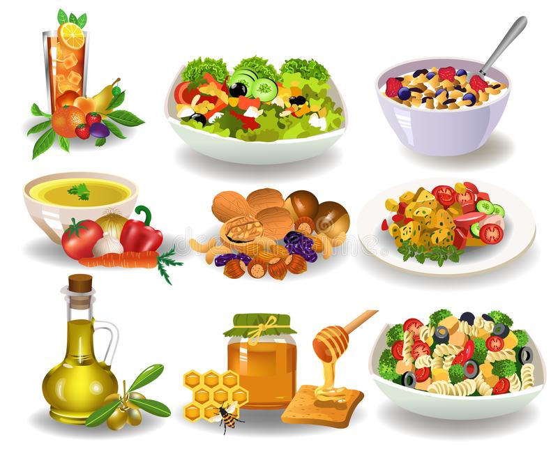 Różni zdrowi posiłki dla śniadania, lunchu lub gościa restauracji odizolowywających na białym tle, ilustracja wektor