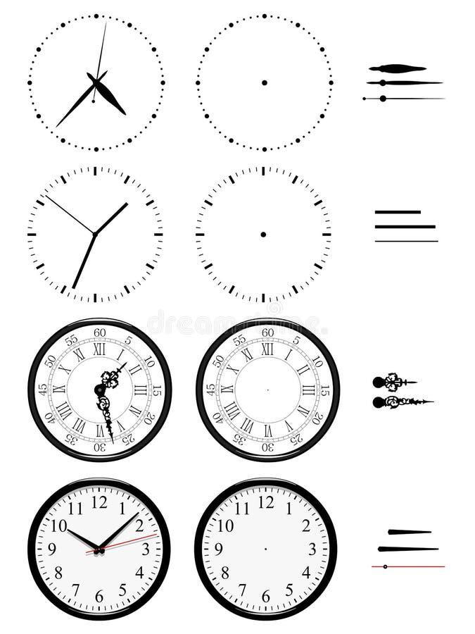 Różni zegary style na białym tle ilustracji