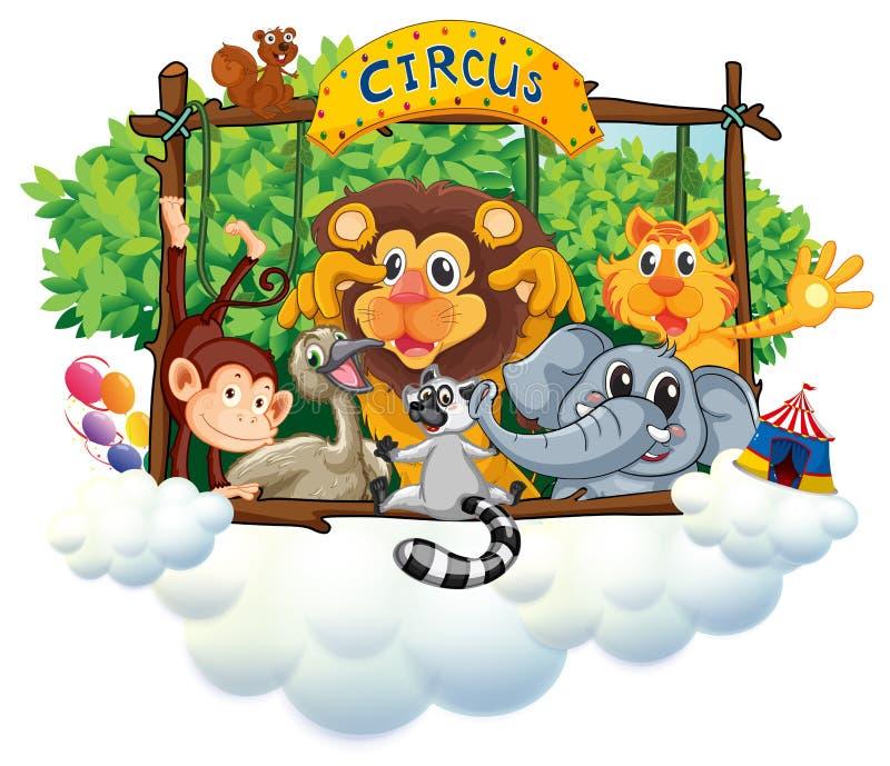 Różni zwierzęta przy cyrkiem ilustracji