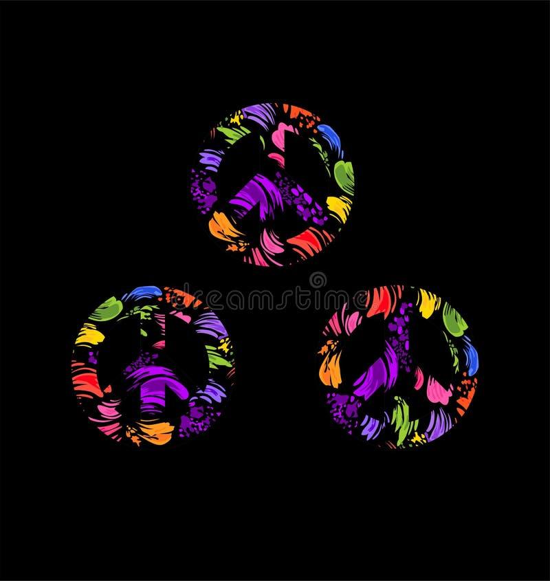 Różnica hipisa pokoju symbol z pochlapanym kolorowym drukiem na czarnym tle Fasonuje projekt kolekcję dla koszulki, torba, plakat ilustracja wektor